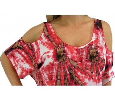 Red Tie Dye Bamboo Top / Tunic With Cut Out Sleeves