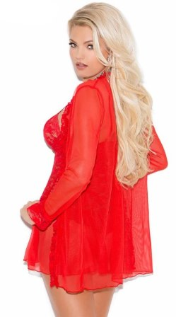 Red Lace Babydoll & Jacket/Robe Set