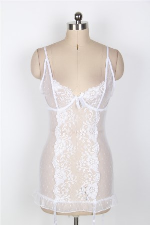 Sexy White Lace Dot Mesh Corset Slip with Garter Set XS, M