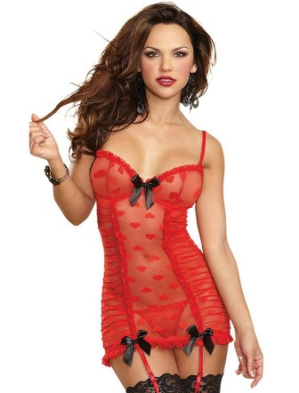 Sexy Red Lace Heart Mesh Corset Slip with Garter Set - S, L