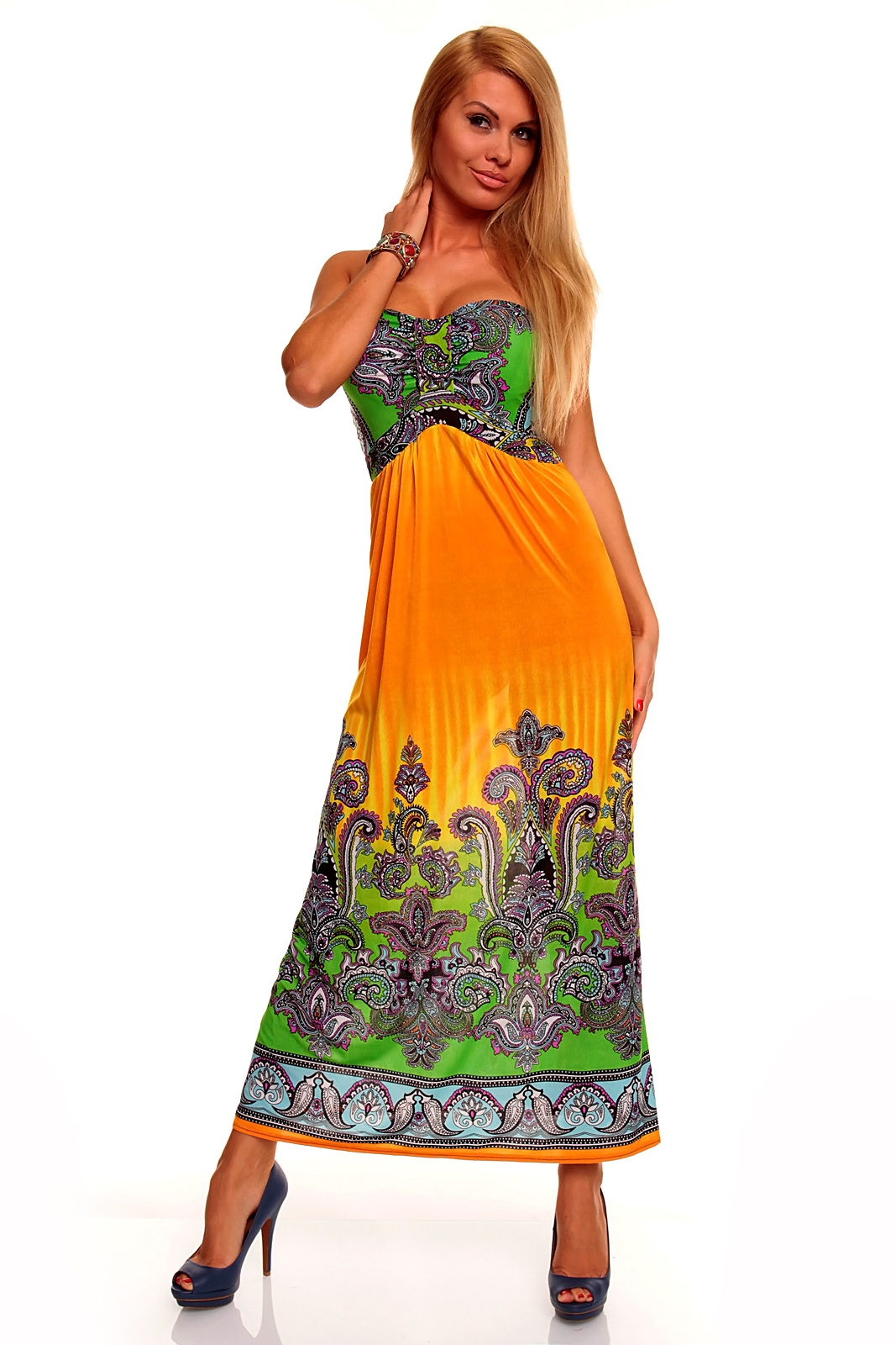 Yellow Strapless Paisley Print Dress