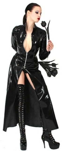 Black PVC Long Jacket / Costume - Gothic, Matrix Style