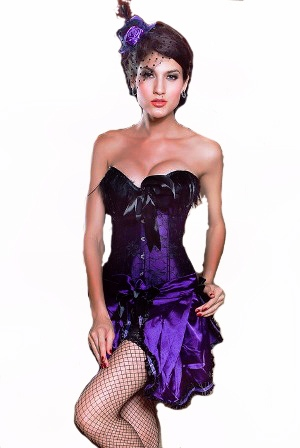 Purple Feather Corset with Skirt
