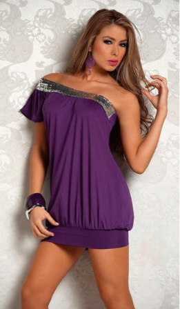Asymmetrical One Shoulder Sequin Top Purple