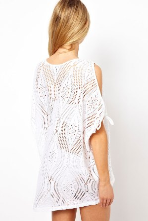 White Cut Out Shoulder Batwing Top