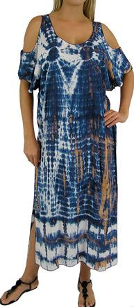 Plus Size Navy Tie Dye Bamboo Dress With Cold Shoulder Sleeves
