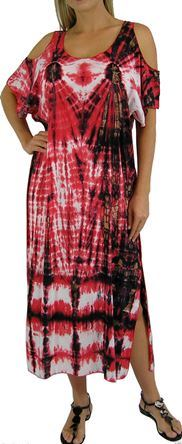 Plus Size Red Tie Dye Bamboo Dress With Cold Shoulder Sleeves