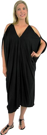 Plus Size Black Cold Shoulder Toga Dress