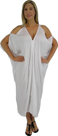 Plus Size White Cold Shoulder Toga Dress