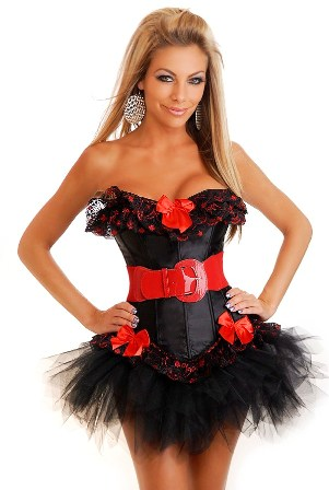 Burlesque Corset Top with Red Bows and Mini Tutu Set