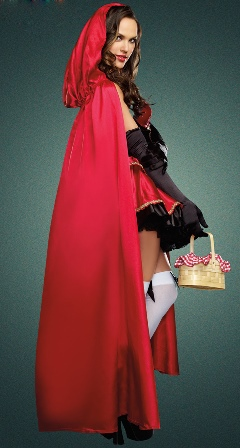 Sexy Little Red Riding Hood Costume - Dress, Cape & Gloves