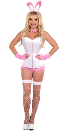 Pink Playboy Bunny Corset Costume Lingerie
