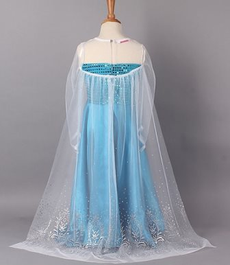 Frozen Snow Queen Elsa Costume Dress With Cape and Tiara