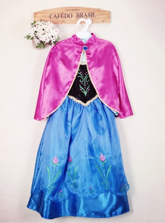 Frozen Snow Queen Princess Anna Costume Dress With Cape