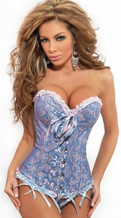 Blue Pink Sweetheart Corset Top