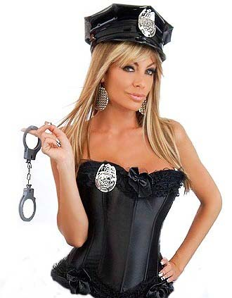 Sexy Police Cop Corset Costume with Accessories