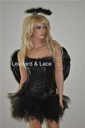 Black 'Dark' Angel Corset Costume (Med Size Wings)