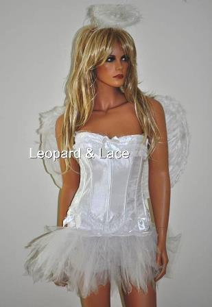 White 'Good' Angel Corset Costume (Med Size Wings)