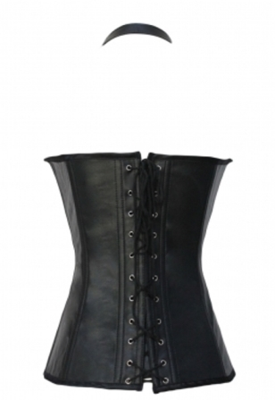 Black Buckle-up Steampunk Faux Leather Halter Neck Corset
