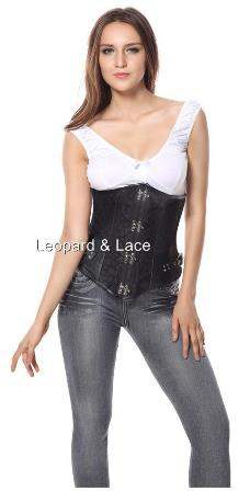 Plus Size Black Brocade Steampunk Underbust Steel Boned Corset