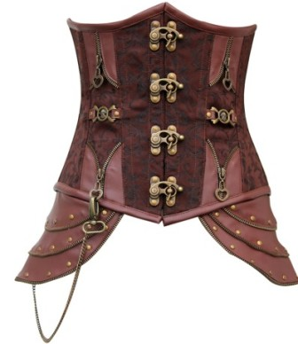 Brown Brocade Underbust Victorian / Steampunk Steel Boned Corset