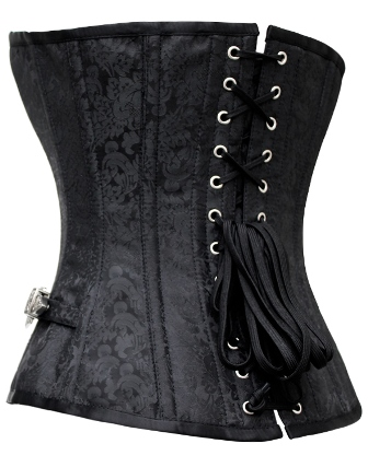 Black Brocade & Buckles Steampunk Gothic Corset Plus Size