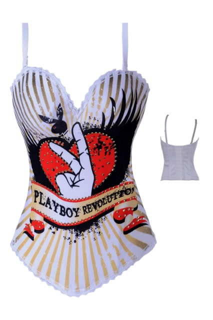 White Playboy Bunny Revolution Corset/Top - Click Image to Close