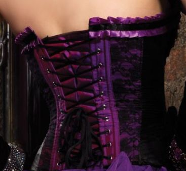 Purple Valentina Burlesque Corset With Garters
