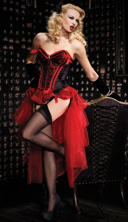 Red Valentina Burlesque Corset & Bustle Skirt Set