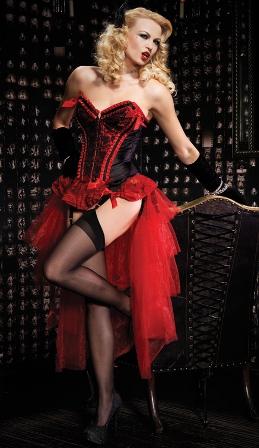 Red Valentina Burlesque Corset & Bustle Skirt Set