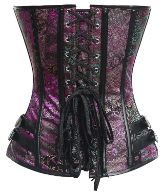 Plus Size Pink/Purple Brocade Steel Bone Steampunk Vegan Corset