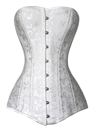 White Jacquard Steel Boned Overbust Long Line Bridal Corset