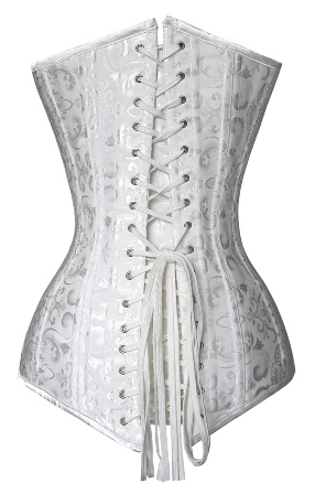 Plus Size White Jacquard Steel Boned Long Line Bridal Corset