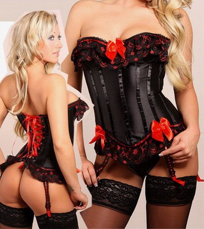 Burlesque Black Corset with Red Bows & Lace Underwire Style