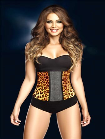 Leopard Print Latex Rubber Underbust Corset Shapewear Steel Bone