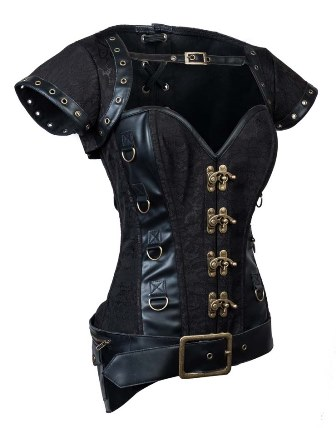 Black Steampunk Faux Leather & Steel Bone Corset Jacket Belt
