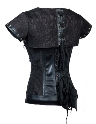 Plus Size Steampunk Faux Leather & Steel Bone Corset Jacket Belt