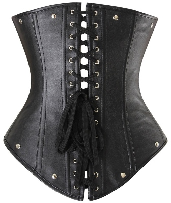 Black Faux Leather Steampunk Buckle Underbust Halter Neck Corset