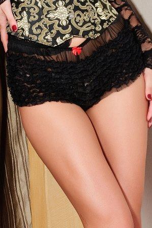 Black Frilly Ruffle Boyshort Knickers