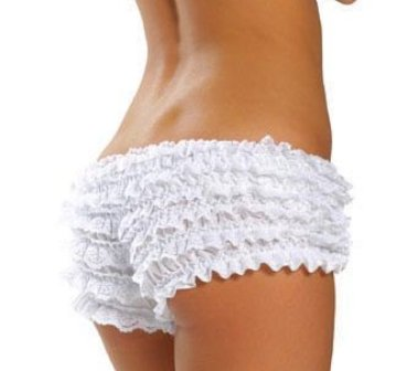 White Frilly Ruffle Boyshort Knickers