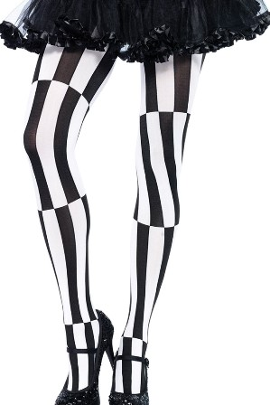 Black & White Striped Harlequin Optical Illusion Tights
