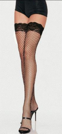 Black Fishnet Lace Top Thigh High Stockings Standard & Plus Size - Click Image to Close