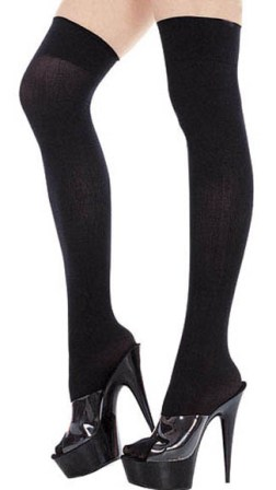 Long Black Opaque Socks - Thigh High