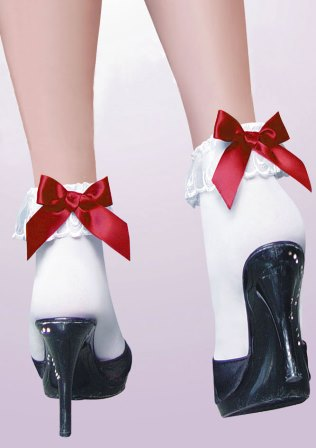 Ankle Socks With Lace Ruffle Trim & Red Bow