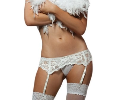 White Lace Suspender Belt One Size (8-14)