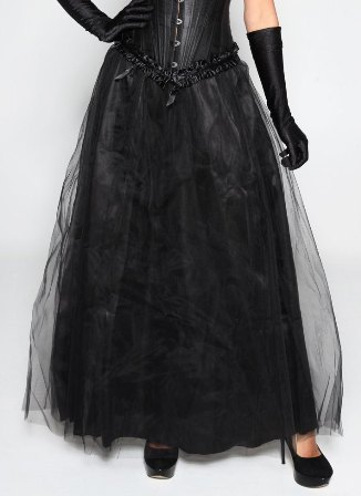 Long Maxi Length Black Tulle Skirt -O/S & XL