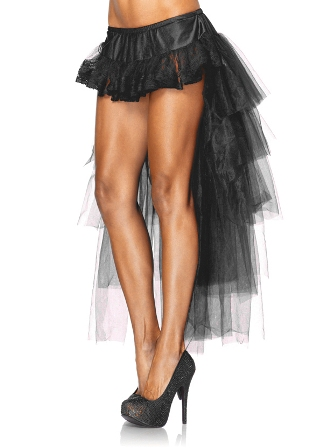 Black Long Tulle Burlesque Bustle Over Skirt