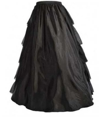 Plus Size Victorian Black Satin Multi-Layer Ruffle Long Skirt