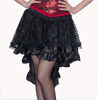 Plus Size Black Burlesque Satin & Lace Ruffle Hi Low Skirt