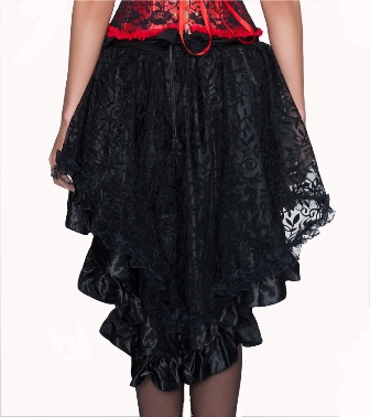 Black Burlesque Satin & Lace Ruffle Hi Low Skirt